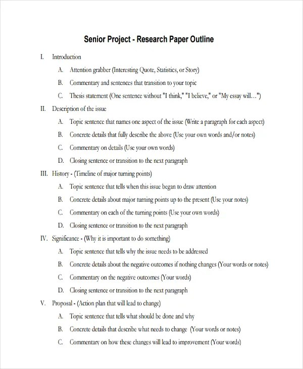 Senior Research Paper Outline Example - project outline template