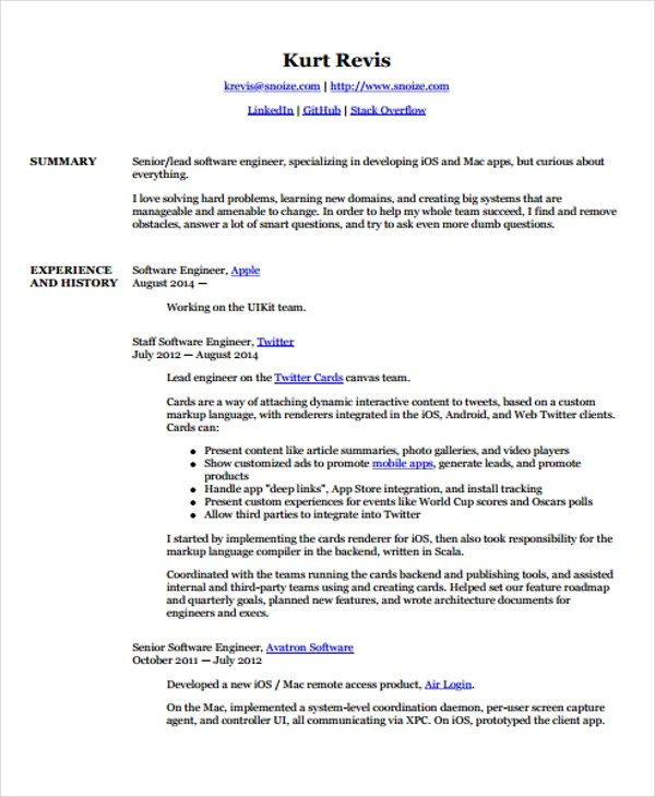 3+ Android Developer Resume Templates - Free Samples, Examples - developer resume examples