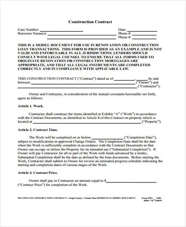 simple construction construction contract sample template terms and