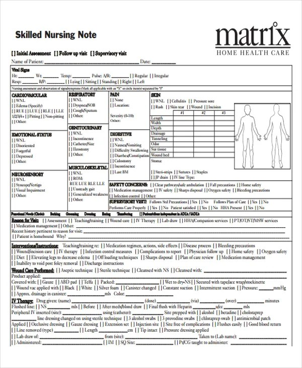 6+ Nursing Note Templates - Free Samples, Examples Format Download