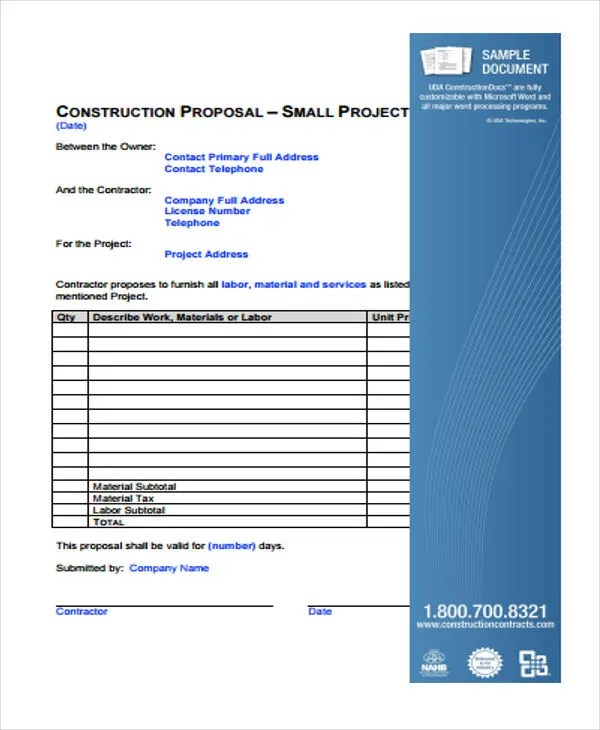 10 Construction Business Proposal Templates - Free Sample, Example - construction proposal template