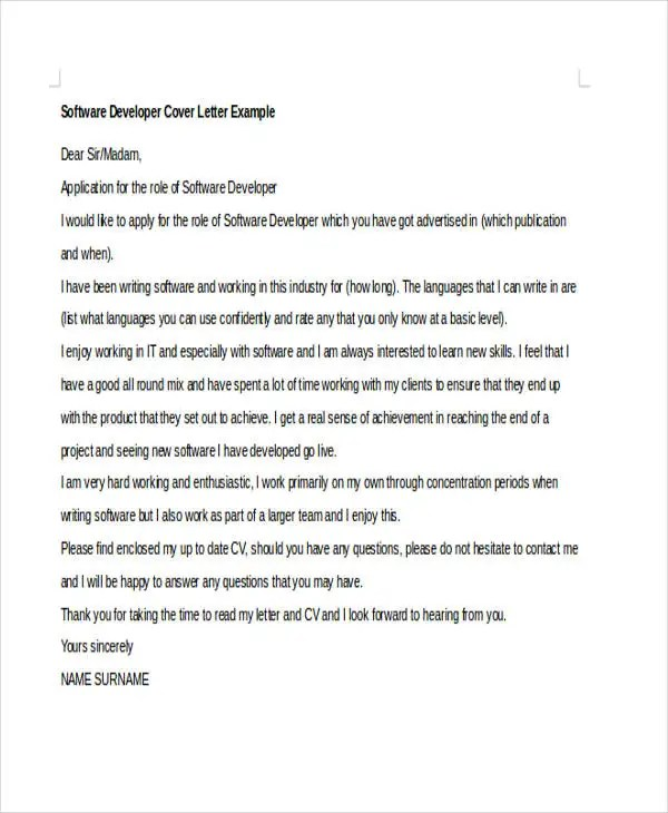 ... 6+ Software Developer Cover Letters Free \ Premium Templates   Developer  Cover Letters ...
