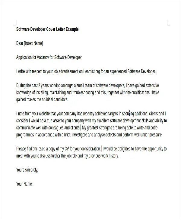 6+ Software Developer Cover Letters Free  Premium Templates - cover letter for software engineer