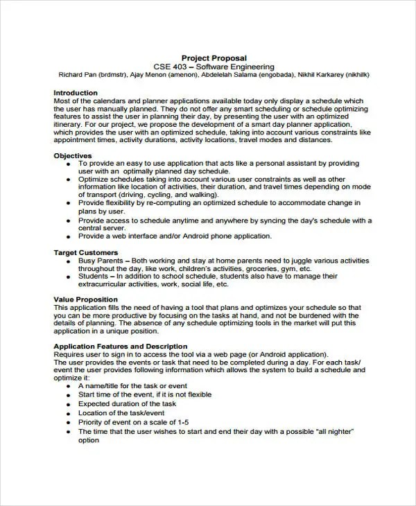 7+ Engineering Project Proposal Templates - Word, PDF Free - project proposal