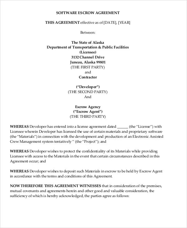 Escrow Agreement Template property purchase agreement template - sample stock purchase agreement