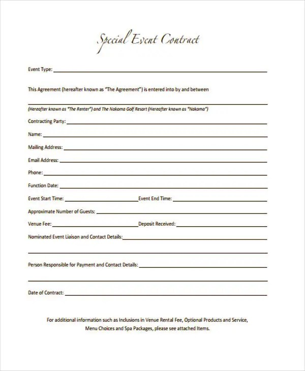 11 Event Contract Templates Free Sample Example Format Event Contract  Template