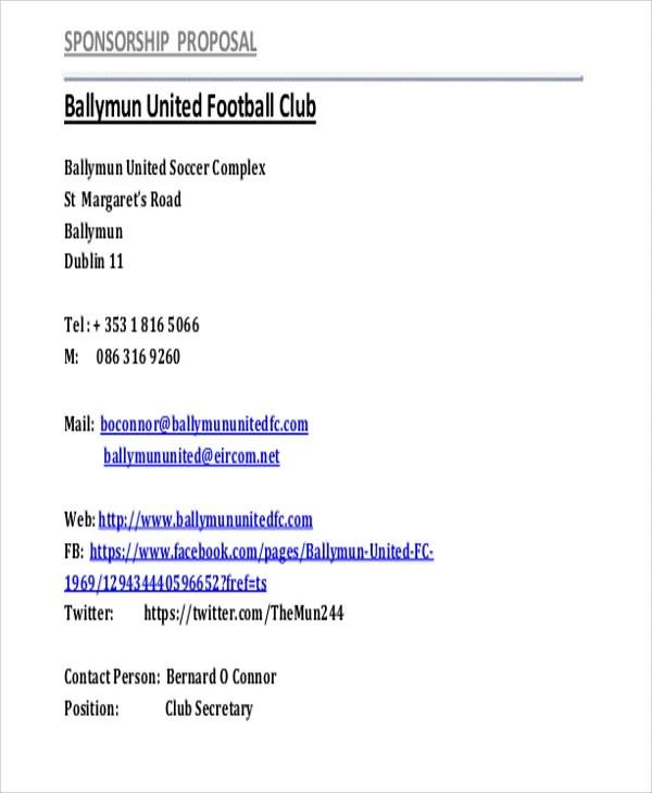 11+ Sports Sponsorship Proposal Templates - Free Sample, Example - sponsorship proposal template