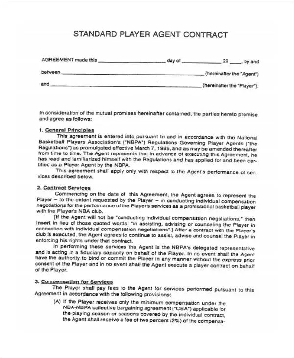 Agent Contract Templates - 8+ Free Word, PDF Format Download Free - agent contract template
