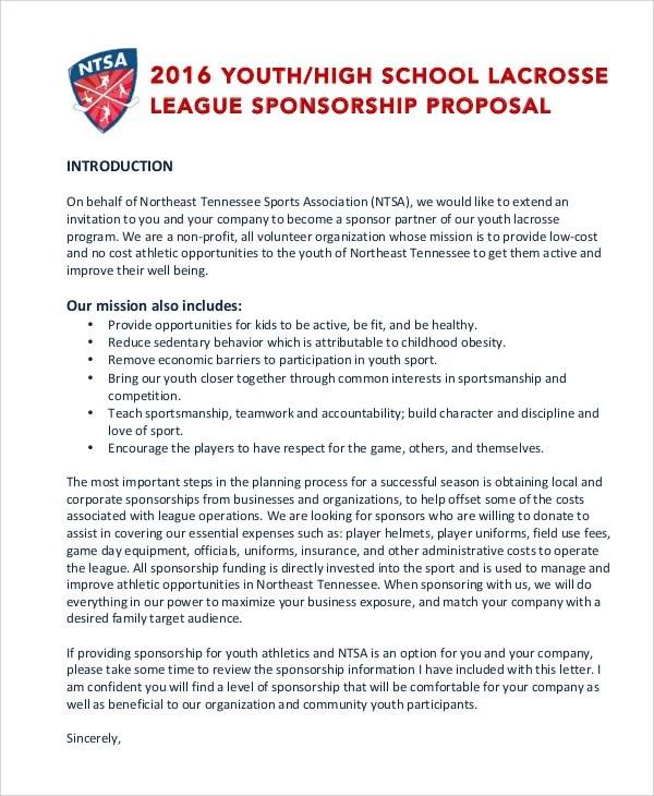 11+ Sports Sponsorship Proposal Templates - Free Sample, Example - Athlete Sponsorship Proposal Template