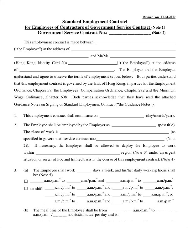 Temporary Employment Contract Standard Employment Contract - physician employment agreement
