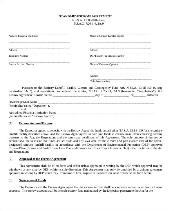Escrow Agreement Templates - 11+ Free Word, PDF Format Download