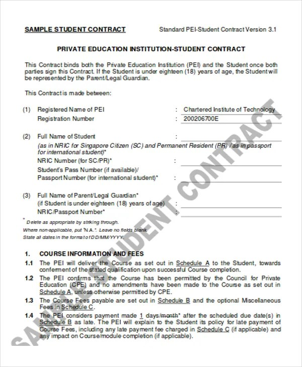 13+ Student Contract Templates - Word, PDF Free  Premium Templates