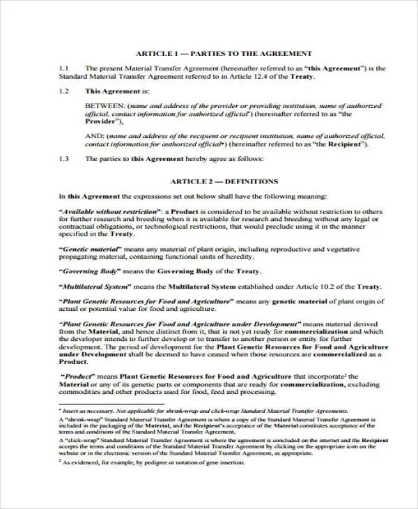 9 Transfer Agreement Templates - Free Sample, Example Format