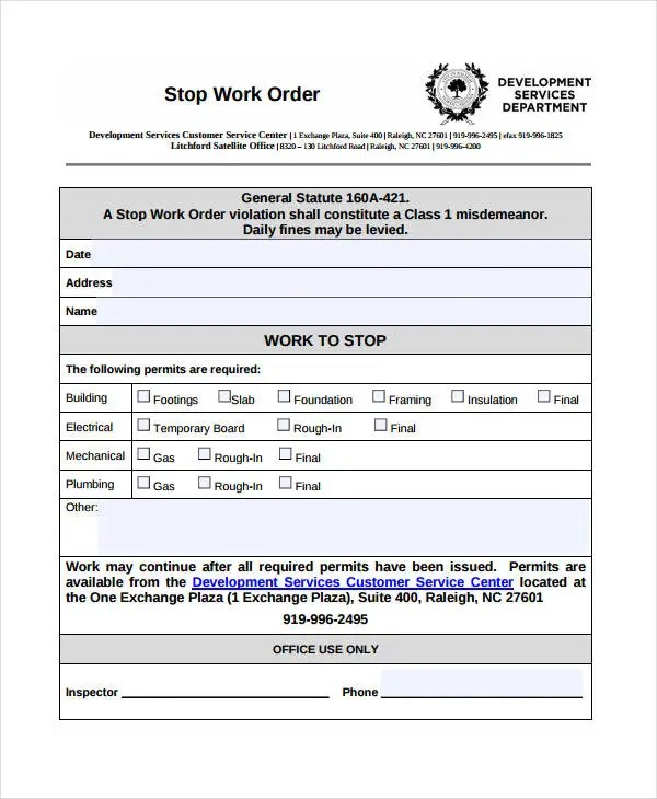 Work Order Templates - 10 Free Word, PDF Format Download Free