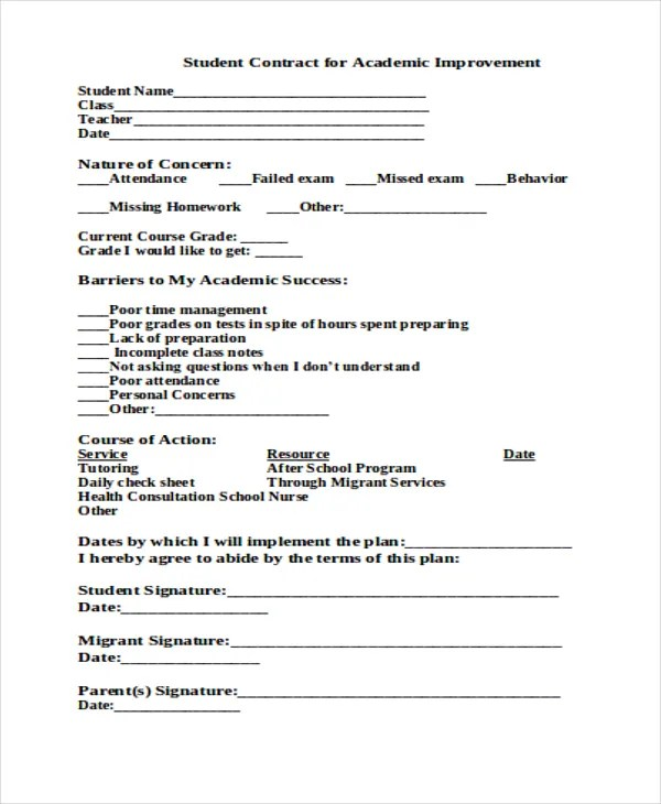 student contracts templates - Goalgoodwinmetals - Student Contract Templates