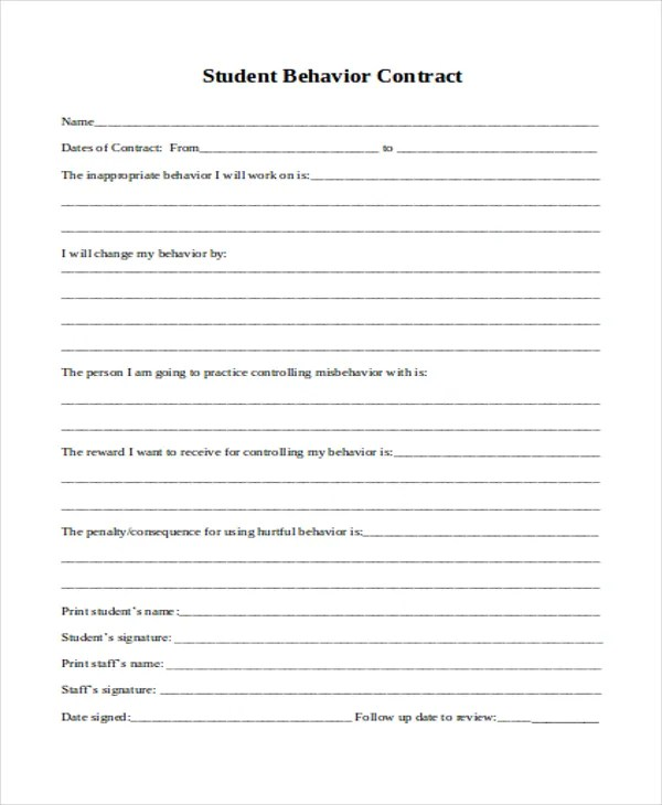 11+ Student Contract Templates - Word, PDF Free  Premium Templates