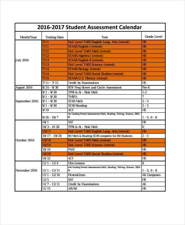 9+ Assessment Calendar Templates - Sample, Example Free  Premium