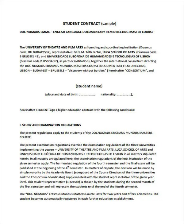 14+ Student Contract Templates - Sample Word, Apple Pages Google