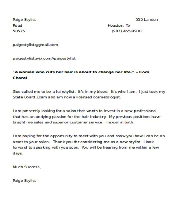 9+ Hair Stylist Cover Letters Free  Premium Templates - hair stylist cover letter