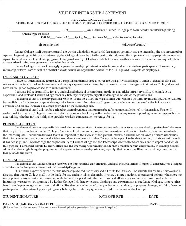 unpaid internship contract template - Militarybralicious - Student Contract Templates