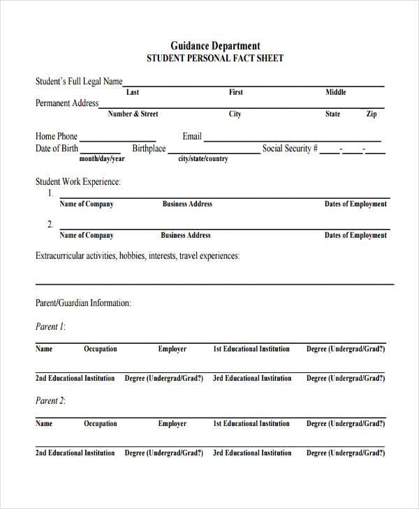personal info sheet template - Onwebioinnovate - info sheet template