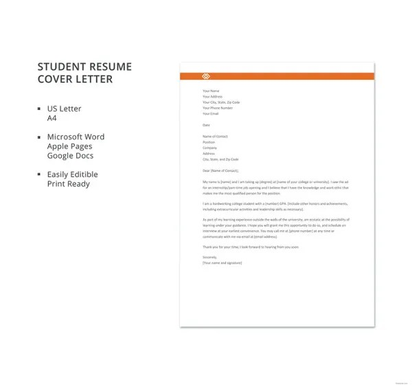 Cover Letter for Student - 10+ Free Word, PDF Format Download Free - Sample Student Resume Cover Letter