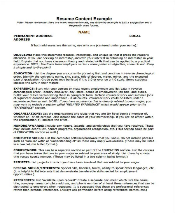7+ Summer Job Resume Templates - Free Samples, Examples Format - summer job resume examples