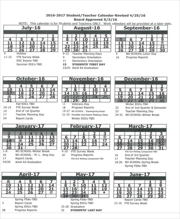 7+ Teacher Calendar Templates - Free Sample ,Example Format Download - teachers planning calendar