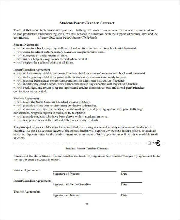 Student Agreement Contract Rd Grade Homework Contract Behavior - Differences Contract Agreement