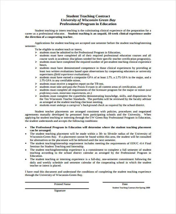 8+ Teacher Contract Templates - Free Word, PDF Format Download - Student Contract Templates