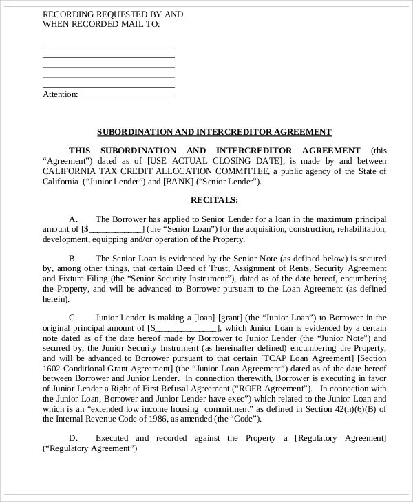 6+ Intercreditor Agreement Templates - Free Samples, Examples Format