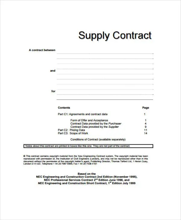 8+ Supply Contract Templates - Free Word, PDF Format Download Free