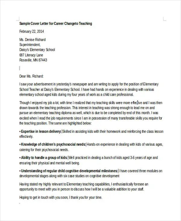 6+ Career Change Cover Letter - Free Sample, Example Format Download - Writing A Cover Letter Examples