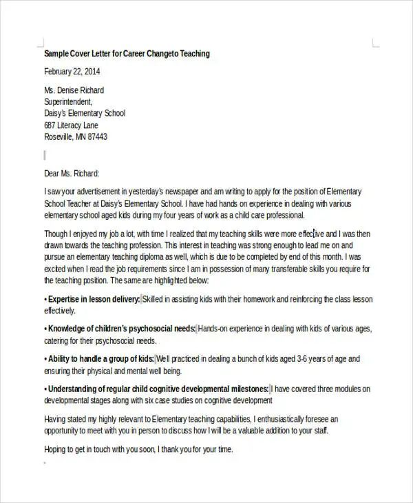 cover letter for switching careers