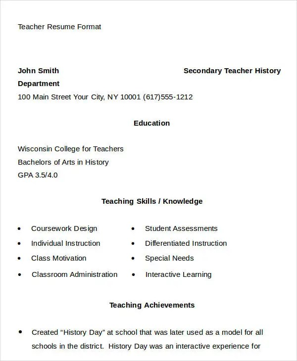 20+ Simple Teacher Resume Templates - PDF, DOC Free  Premium