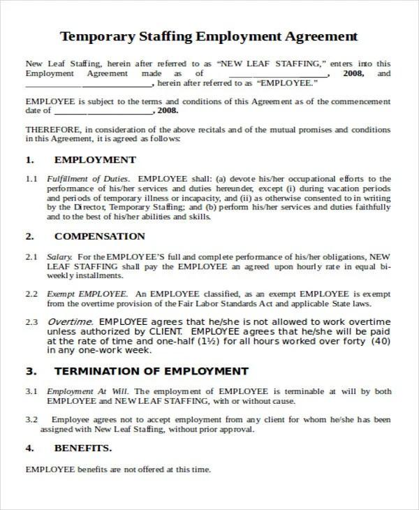 6 + Temporary Employment Agreement Templates - PDF, Google DOC