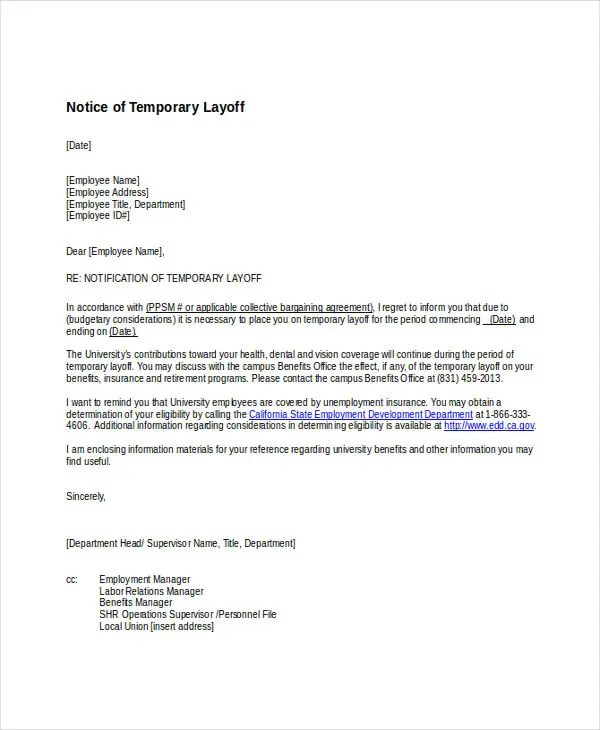 8 Layoff Notice Templates - Free Sample, Example Format Download - employee lay off letter
