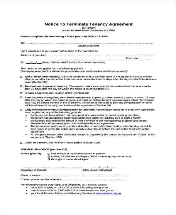 Eviction Notice Template Nsw Choice Image - Template Design Ideas - legal forms eviction notice