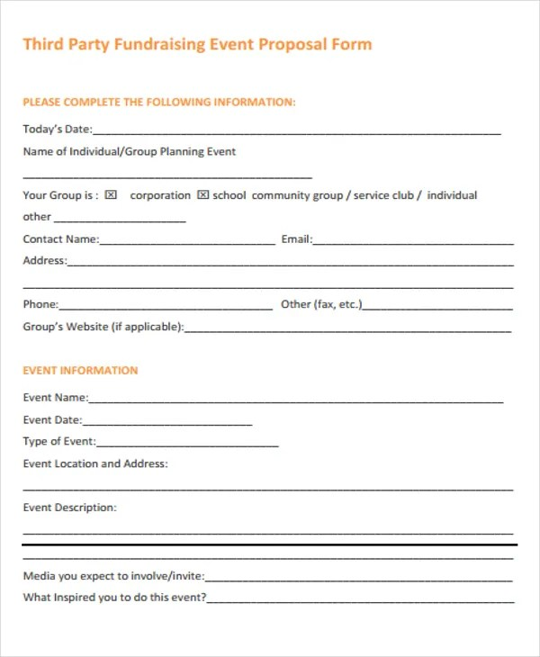 Fundraising Event Proposal Templates - 9+ Free Word, PDF Format - party proposal template