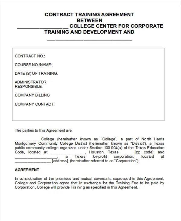 13+ Training Contract Templates - Word, Google Docs, Apple Pages