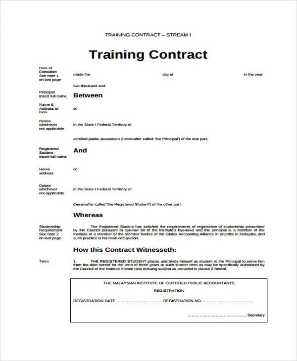 Training Contract Templates - 10+ Free Word, PDF Format Download