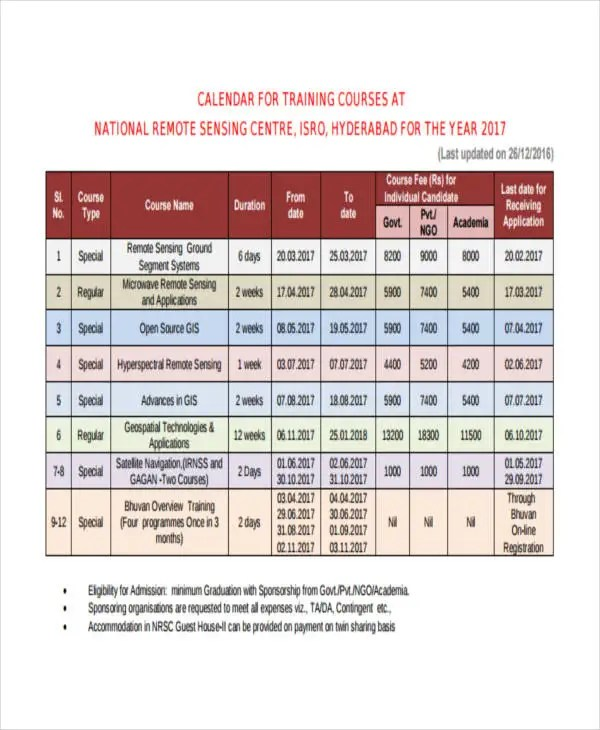 excel training calendars templates inspirational course curriculum
