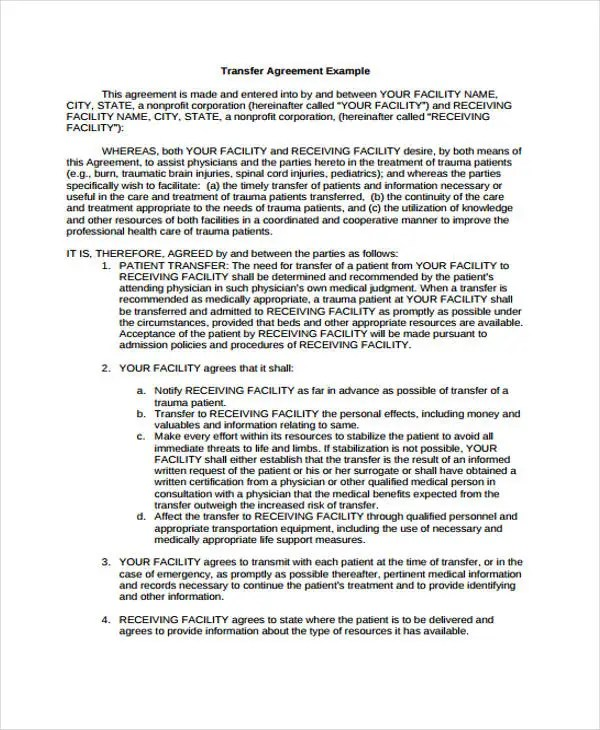 9 Transfer Agreement Templates - Free Sample, Example Format - transfer agreements