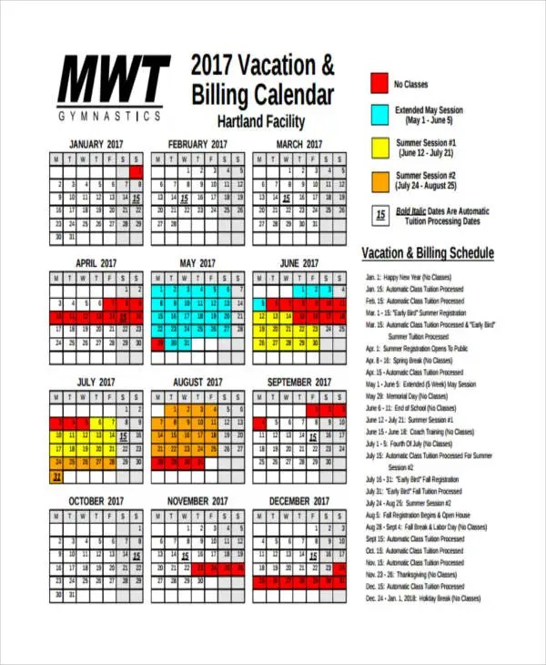 Sample Vacation Calendar Weekly Shift Excel Template Tips - vacation tracking template