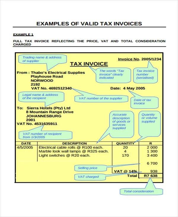 6+ VAT Invoice Templates - Sample, Example Free  Premium Templates - invoice template south africa