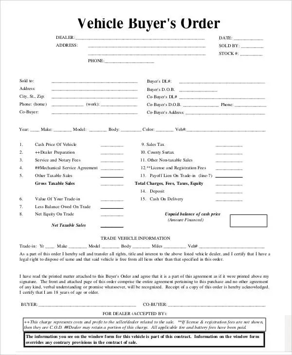 7+ Vehicle Order Templates - Free Sample, Example, Format Download