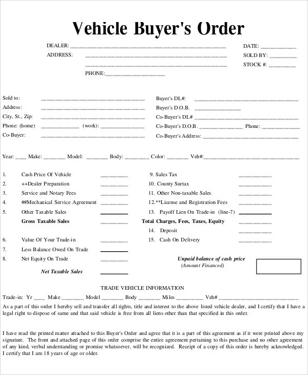 Vehicle Order Templates - 7+ Free Word, PDF Format Download Free - sample sale order template