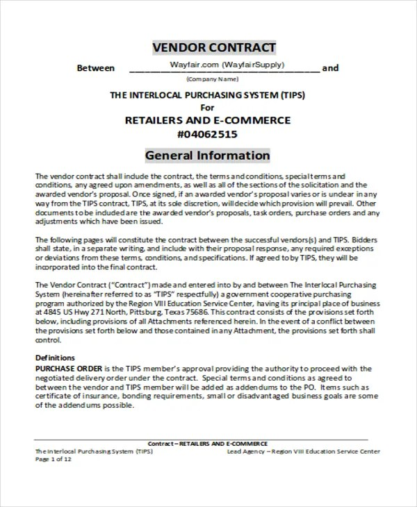 5+ Vendor Contract Templates - Sample, Examples Free  Premium - sample vendor contract