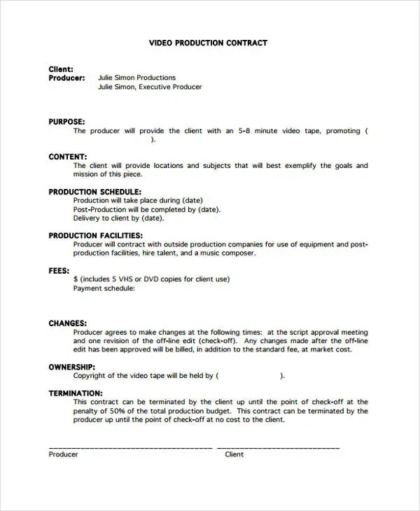 videography contract templates - Boatjeremyeaton