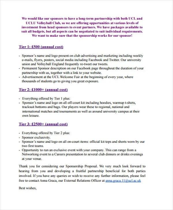 9+ Club Sponsorship Proposal Templates - Free Sample, Example Format